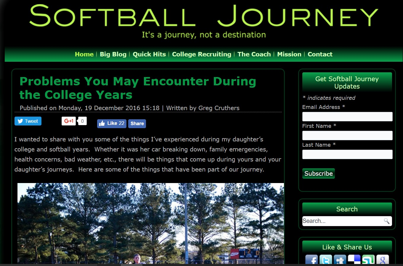 softball journey blog